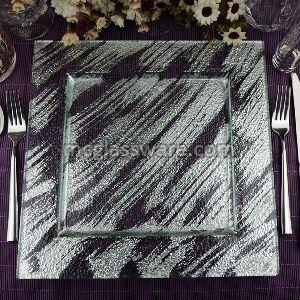Square Silver Foil Glass Charger Plates