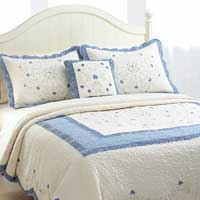 Laura Blue Machine Quilted Bedspread