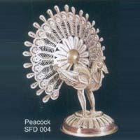 Silver Peacock Statue