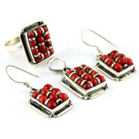 Elegant Coral Oxidized Sterling Silver Jewelry