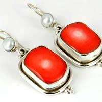 Great Shiny Coral Pearl Sterling Silver Earring
