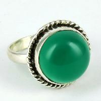 Sterling Silver Rings (Green Island Round Green Onyx Engraving 925)
