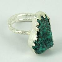 Sterling Silver Rings (Green Love Rough Turquoise Bezel Design 925)
