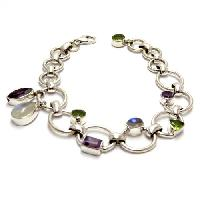 Sterling Silver Necklaces (Amethyst Rainbow Moonstone Peridot)