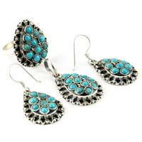 Melody Turquoise Oxidized Rava Work 925 Sterling Silver Jewelry Set