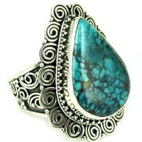 Rare Earths Wisdom Rava Work Turquoise 925 Sterling Silver Ring