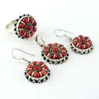 Sterling Silver Earrings (Stunning Coral Embossing Engraving Oxidized 925)