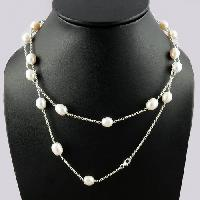 Sterling Silver Necklaces White Pearl Beads
