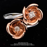 Ladies Rose Gold Diamond Rings(ATLR-N198)