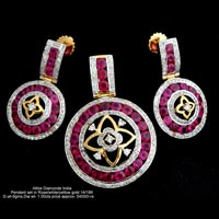 Light Weight Diamond Pendant Sets(ATPDS-AR30)