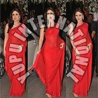 Karina Red Chiffon Saree