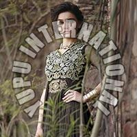 Net Patch Work Black Semi Stitched Gown