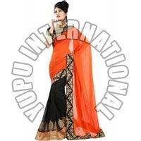 Designer Orange Half-half Saree