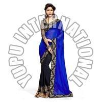 Designer Blue Half-half Saree