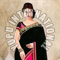Black and Pink Half Half Saree