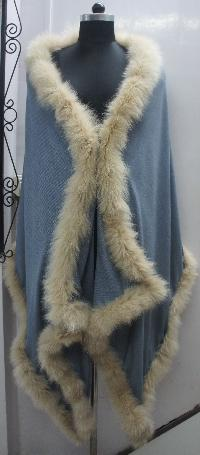 Silk Pashmina wool with racoon Fur trim pashmina shawls