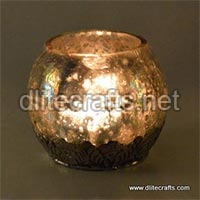 Glass Crack Silver Votive