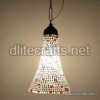 Glass Red White Mosaic Hanging