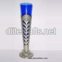 Metal Fitting Glass Flower Vase