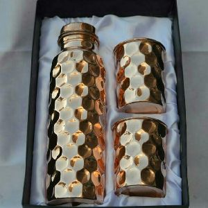 Copper Bottle & Glass Set