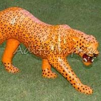 Handicraft Leather Leopard Sculpture