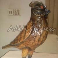 Handicraft Leather Owl Sculpture
