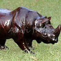 Handicraft Leather Rhino Sculpture
