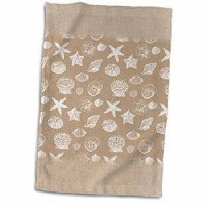 Light Brown Printed Hand Towels