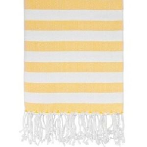 Yellow & White Bold Striped Bath Towels