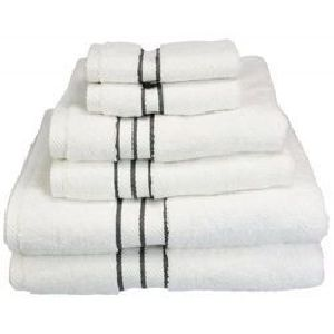 Black Striped White Cotton Hotel Towels