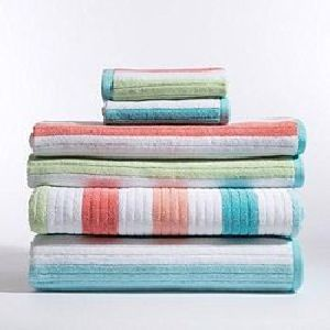 Multi Colored Striped Bath Towels
