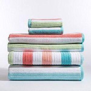 Multi Colored Striped Bath Towels