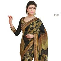 Black Color Printed Georgette Lace Border Saree with Blause