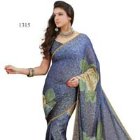 Blue Color Printed Fancy Georgette Saree with Blause