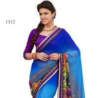 Blue Color Printed Georgette Fancy Saree with Blause