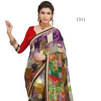 Multi Color Printed Georgette Fancy Saree with Blause