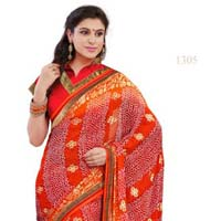 Orange Color Printed Georgette Saree with Blause