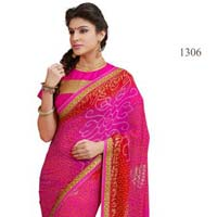 Pink Color Printed Georgette Lace Border Saree with Blause