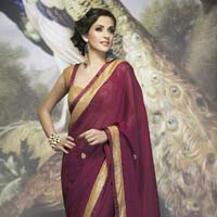 Radhika Fibers Brawn Color Pure Georgette Saree with Blause