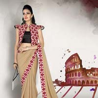 Radhika Fibers Cream Color Faux Georgette Saree with Fancy Blause
