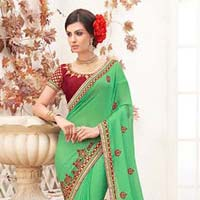 Radhika fibers green color fancy designer georgette saree with blause