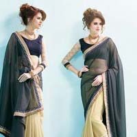 Radhika Fibers Grey and Chikoo Color Fox Georgette Saree with Blause