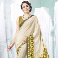 Radhika Fibers Olive and Beige Color Crape Silk Saree with Blause