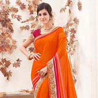 radhika fibers orange  color georgette fancy saree with blause