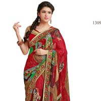 Red color printed lace work georgette saree with blause