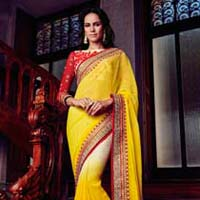 Yellow Color Georgette Designer Lehanga Saree with Blause