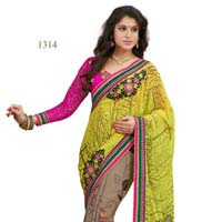 Yellow Color Printed Fancy Georgette Saree with Blause