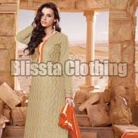 Beige Party Wear Embroidered Suit