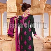 Black & Pink Embroidered Dress Material