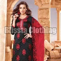 Black & Red Embroidered Dress Material